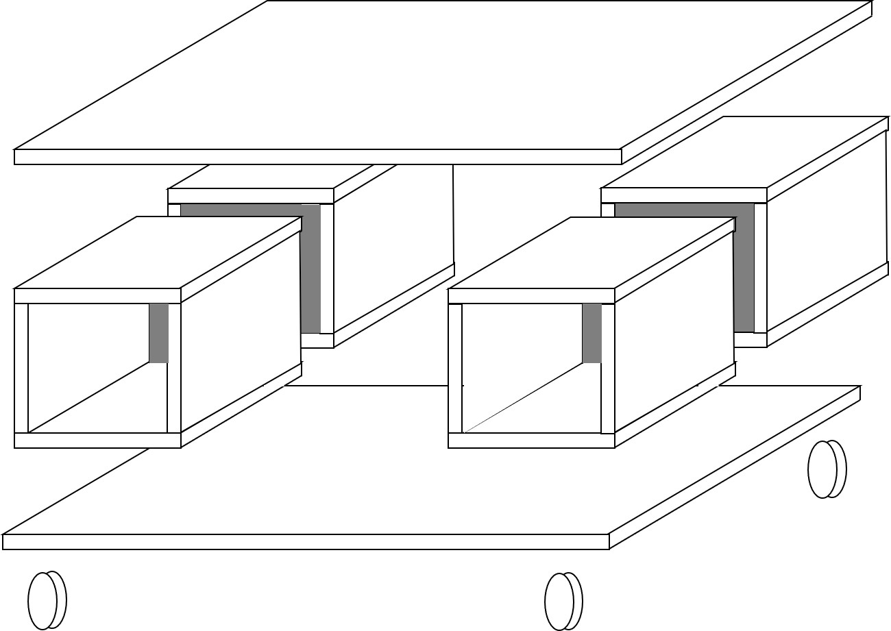 schéma table basse avec des rangements