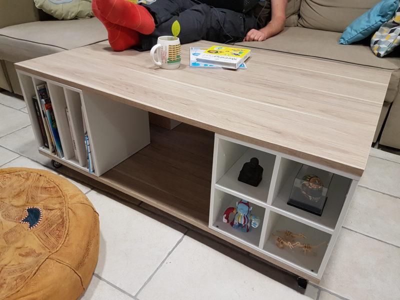 table basse avec des rangements